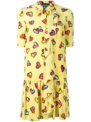 Boutique Moschino Heart Print Dress Yellow Orange