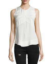 Iro Diamant Sleeveless Zip Front Top Ecru