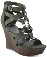 G By Guess Dodge Platform Wedge Sandals Women's Shoes Green