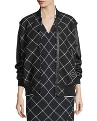Rag And Bone Edith Windowpane Varsity Jacket Black White Black White