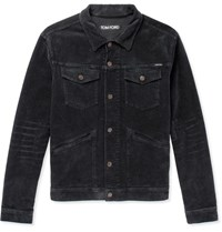 Tom Ford Stretch Cotton Corduroy Trucker Jacket Charcoal