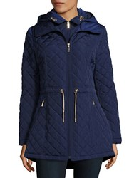 Laundry By Shelli Segal Quilted Zipped Hooded Jacket Navy