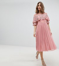 Maya Sheer Detail Sequin Cape Overlay Detail Midi Dress Vintage Rose Pink