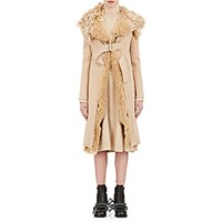 Paco Rabanne Women's Shearling Collar Coat Tan