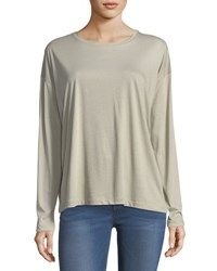 Vince Pima Cotton Long Sleeve Crewneck T Shirt Beige
