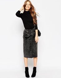 Asos Wrap Pencil Skirt In Faux Fur With Button Detail Grey