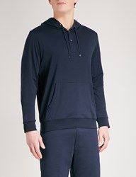 Ralph Lauren Purple Label Lisle Cotton Jersey Hoody Navy Grey