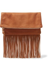 Clare V. V Maison Fold Over Fringed Textured Leather Clutch Tan