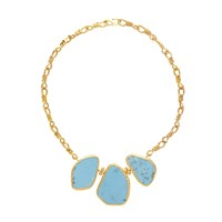 Ottoman Hands Statement Turquoise Necklace Blue Gold