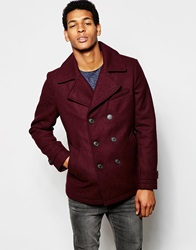 Selected Homme Wool Mix Peacoat Burgundy