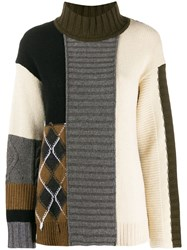 Pringle Of Scotland Oversized Patchwork Jumper Grey