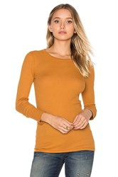 Three Dots Long Sleeve Crew Neck Tee Tan