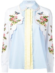 Vivetta Floral And Face Embroidered Shirt White
