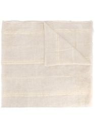 Brunello Cucinelli Gold Striped Scarf Nude Neutrals
