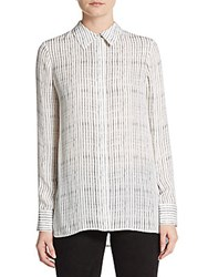 Vince Striped Silk Shirt Off White Black