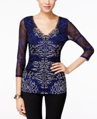 Inc International Concepts Printed Ruched Blouse Only At Macy's Victorian Scroll