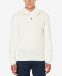 Perry Ellis Men's Quarter Zip Mock Neck Sweater Cream