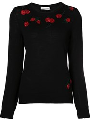Altuzarra Cherry Embroidered Sweater Women Merino Sequin S Black