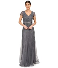 Adrianna Papell Short Sleeve V Neck Gown With Godets Sterling Women's Dress Navy