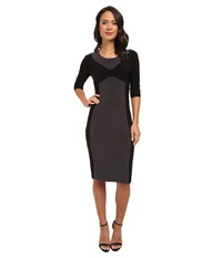 Kamalikulture By Norma Kamali Color Block Sheath Dress Black Grey Women's Dress
