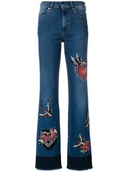 Red Valentino Embroidered Bootcut Jeans Blue