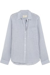 Current Elliott The Boyfriend Striped Cotton Chambray Shirt Light Blue