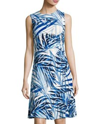 Eliza J Side Ruched Palm Print Dress Blue