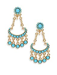 Kenneth Jay Lane Couture Collection Clip On Chandelier Earrings Turquoise Gold