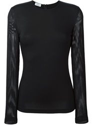 Akris Mesh Sleeve T Shirt Black
