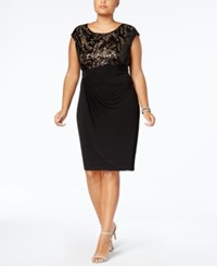 Connected Plus Size Sequined Faux Wrap Dress Black Nude