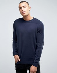 New Look Jumper In Navy With Textured Yoke Navy