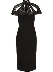 Christian Siriano Laser Cut Cage Dress Black