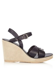 A.P.C. Juliette Leather And Suede Wedge Sandals Dark Navy