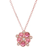 London Road 9Ct Rose Gold Diamond And Tourmaline Pimlico Bubble Pendant Rose Gold