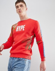 Hype Sweatshirt With Tropical Print Red