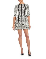 Gabby Skye Floral Fit And Flare Dress Ivory Black