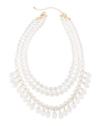 Lydell Nyc Lucite Multi Row Beaded Necklace Clear