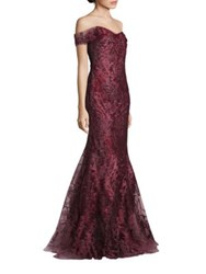 Rene Ruiz Off The Shoulder Embellished Gown Claret