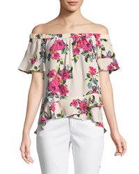 London Times Asymmetric Off The Shoulder Floral Blouse Pink Multi