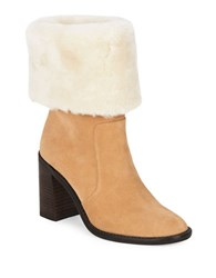424 Fifth Maicey Shearling Cuff Suede Boots Light Toast