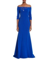 Theia Beaded Off The Shoulder Trumpet Gown Cobalt