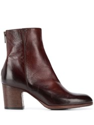 Pantanetti Stacked Heel Ankle Boots Brown