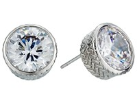 Cole Haan Round Cz Stud Earrings Silver Crystal Earring