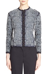 Julien David Embroidered Tulle Jacket Navy White