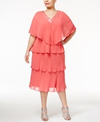 Si Fashions Sl Plus Size Tiered Sheath Dress And Embellished Jacket Flamingo Pink