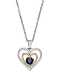 Macy's Sapphire Heart Pendant Necklace In 14K Gold And Sterling Silver 5 8 Ct. T.W.