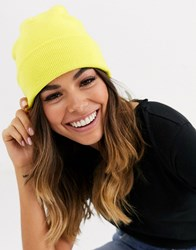 Brave Soul Beanie In Neon Yellow Green