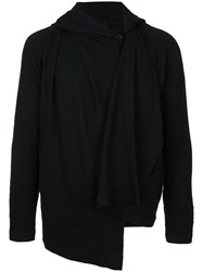Forme D'expression Draped Hooded Cardigan Wool M Black