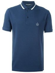 Dolce And Gabbana Embroidered Crown Polo Shirt Blue