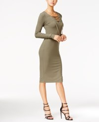 Fire Juniors' Lace Up Bodycon Dress Olive